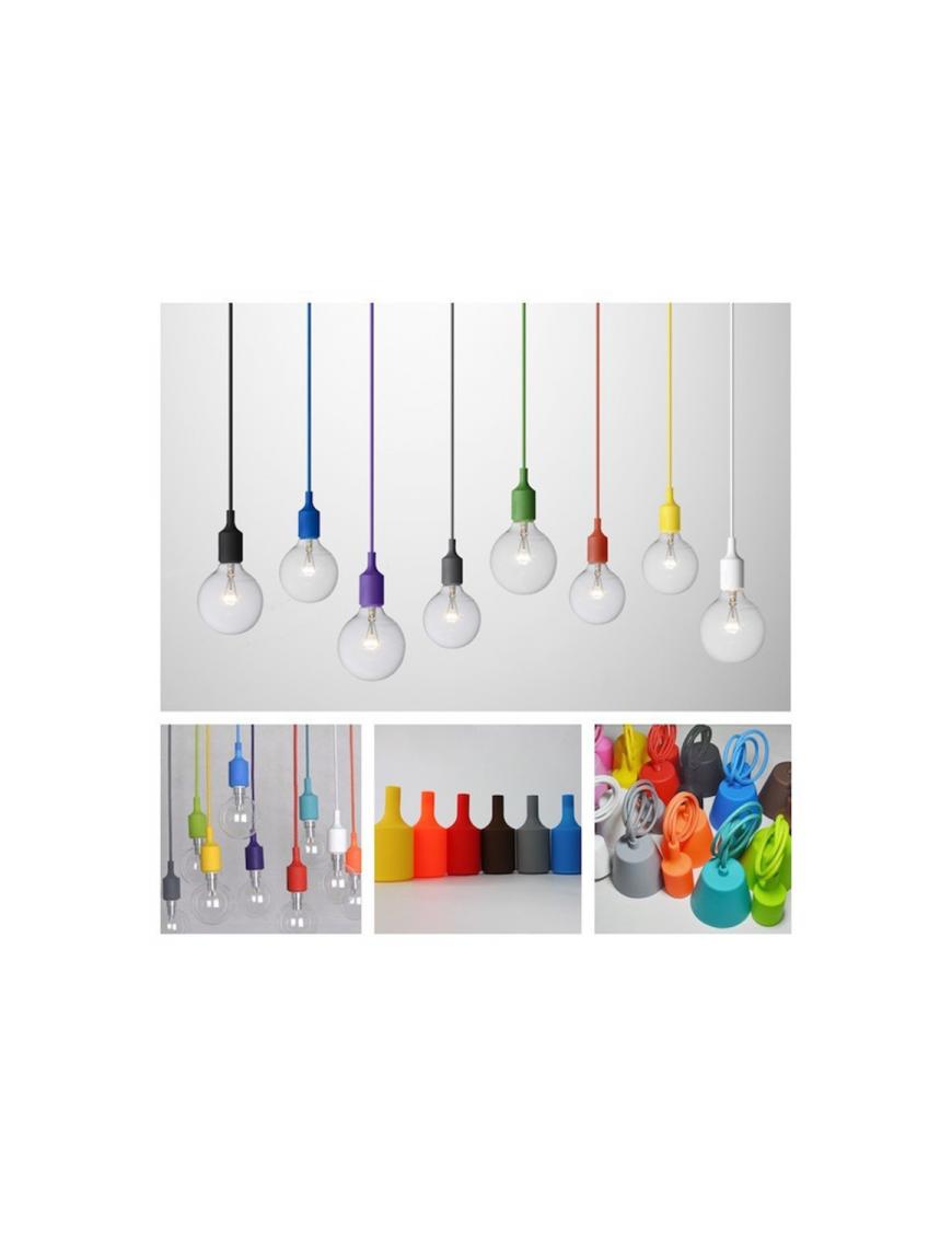 Decoración Portalamparas Silicona E27 Colores 58-DY001-E27-BK