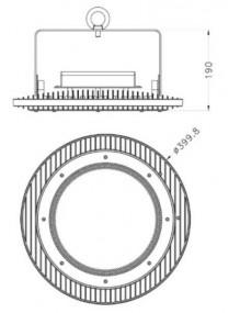 Campana Industrial Campana LED UFO MeanWell Pro 200W UFO-PM-200W-5K