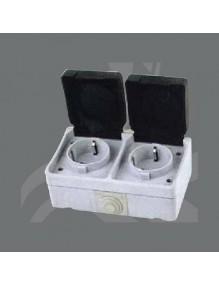 Material Eléctrico Enchufe doble superficie IP44 71-XX-D50-2C