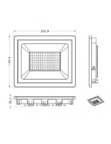 Proyector Exterior LED Proyector LED 50W 6K Slim Negro 57-FL4-50W-BK6K