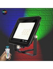 Proyector Exterior LED Foco LED 30W RGB+6K Slim Negro 57-FL4-30W-RGBW