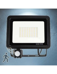 Proyector Exterior LED Foco LED Sensor 50W Slim 6K 57-FL4-50W-6K-SENS