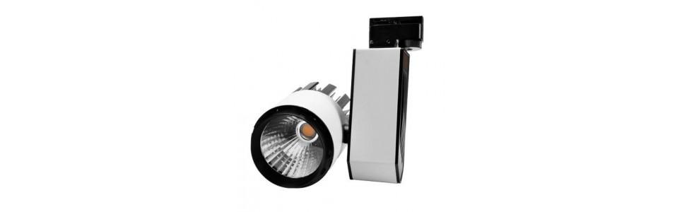Focos LED de carril de varios colores y brazos